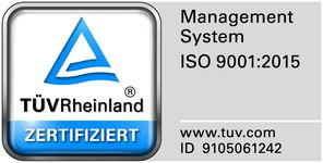 TÜV Siegel Managementsystem IS0 9001